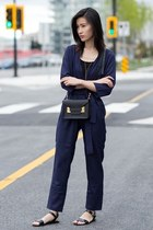 navy Sheinside bodysuit - black Sophie Hulme bag - black Steve Madden sandals