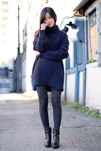 Navy Zara Sweaters, Black Nine West Boots, Dark Gray Uniqlo ...