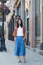 carrot orange Sheinside coat - sky blue unknown brand pants