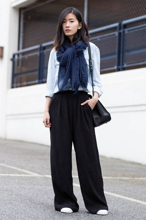 light blue Mango shirt - black H&M pants - white Adidas sneakers