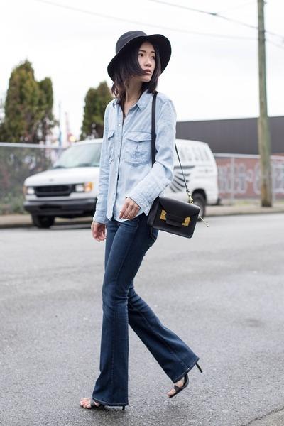 black Sophie Hulme bag - navy Paige Denim jeans - light blue Mango shirt