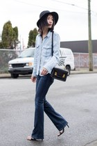 black Sophie Hulme bag - navy Paige Denim jeans - light blue Mango shirt