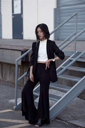 black Zara blazer - black Zara pants - white Tibi top - black sam edelman heels