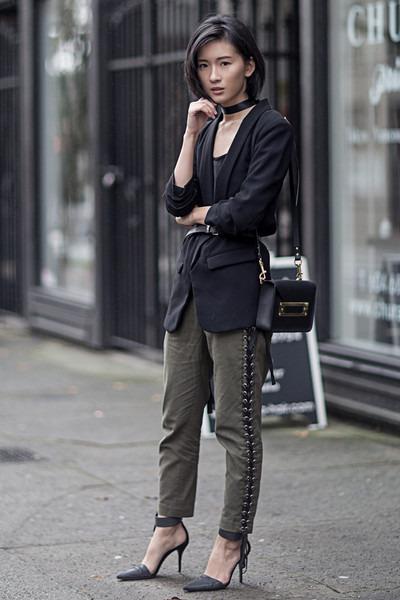 Black-zara-blazer-dark-khaki-ronny-kobo-pants-dark-gray-alexander-wang-heels
