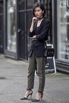 black Zara blazer - dark khaki Ronny Kobo pants - dark gray Alexander Wang heels