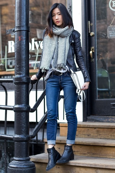 black Viparo jacket - blue Levis jeans