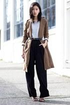 black H&M pants - dark khaki chuu coat - black Zara heels