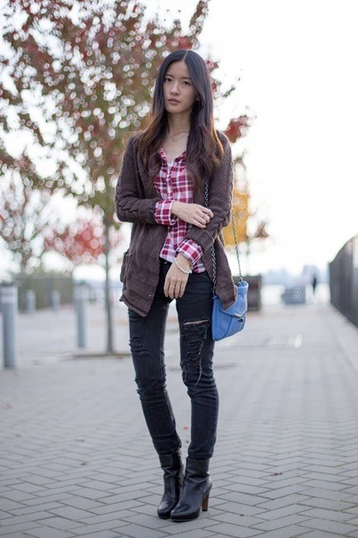 black Nine West boots - black Forever 21 jeans - red Mango shirt
