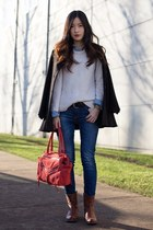 SWEATER, DENIM, AND LEATHER