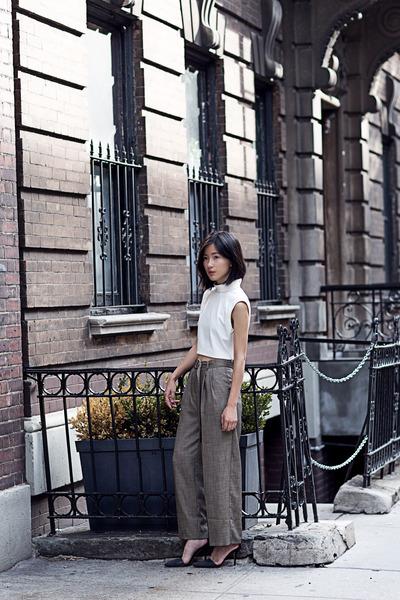 white Tibi top - heather gray asos pants - forest green Alexander Wang heels