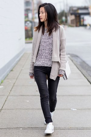 beige BB Dakota cardigan - gray Paige Denim jeans - white Adidas sneakers
