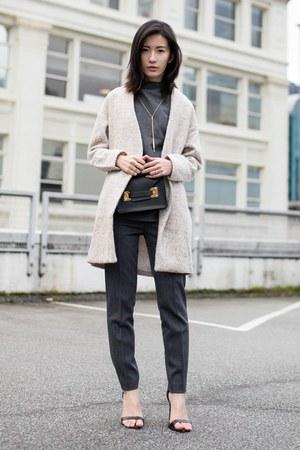 beige Sheinside coat - black Sophie Hulme bag - gray Theory pants