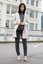 beige Sheinside coat - black Sophie Hulme bag - gray Theory pants