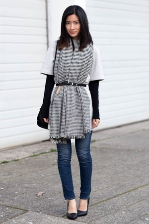 silver Zara scarf - silver Gap dress - navy J Brand jeans