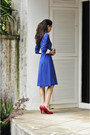 Blue-vintage-dress-ruby-red-arch-heels