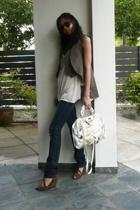 SPY vest - acne jeans - seychelles shoes