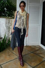 Gray-anna-sui-blouse-blue-taverniti-so-jeans-gray-spy-cardigan-brown-etien