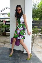 purple no brand dress - green pedder red shoes - purple Rebecca Minkoff purse