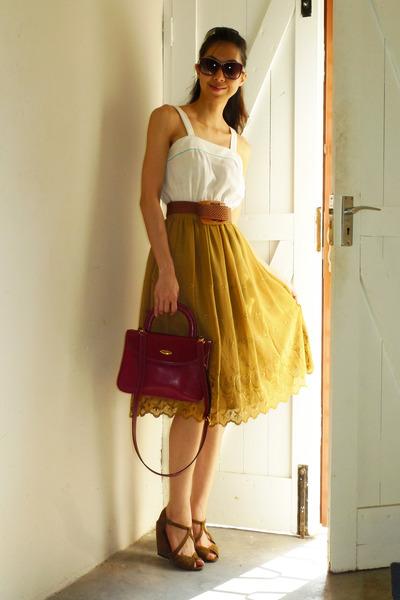a25481c73 mustard vintage skirt - cream vintage dress - ruby red leather a testoni bag