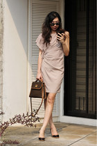 nude dress - light brown Lancel bag - deep purple Nine West heels