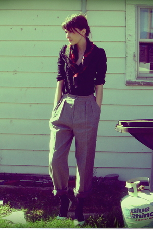 Salvation Army scarf - Gap blouse - Goodwill pants - Urban Outfitters shoes