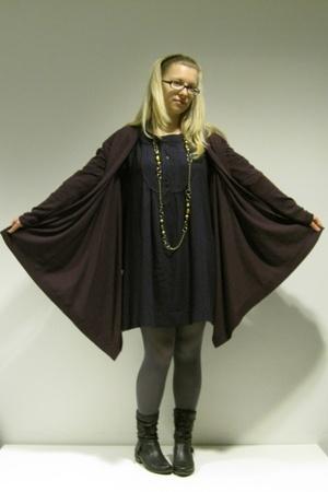 purple Promod dress - black Tamaris boots - gray Calzedonia tights - Promod