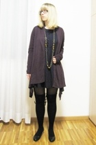 black Calzedonia tights - black leather vagabond shoes - purple Promod dress