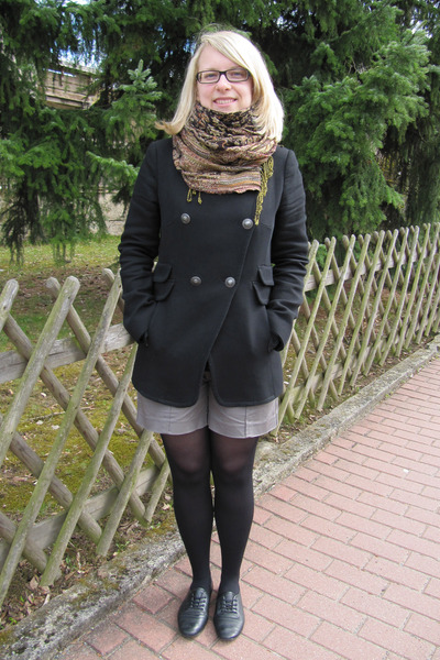 brown H&M scarf - black Mango jacket - brown Mango shorts - black Calzedonia tig