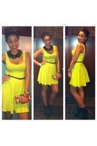 yellow Urban Outfitters dress - multi color purse - black Jeffrey Campbell heels