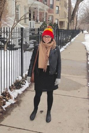 black ankle asos boots - black Zara jacket - camel wool fringe thrift scarf