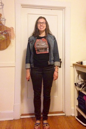 sky blue denim thrifted jacket - charcoal gray Levis jeans