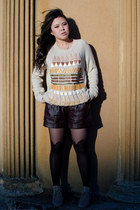 cashmere Burberry sweater - leather shorts Glassons shorts - Glassons stockings