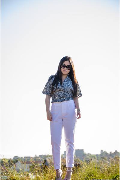 floral print thrifted vintage top - baroque swirls Ebay sunglasses