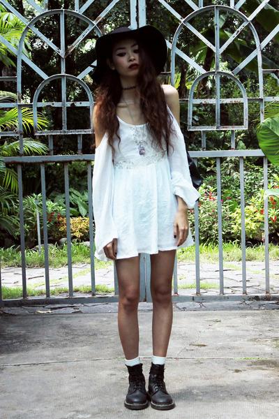 black Dr Martens boots - white Sheinside dress