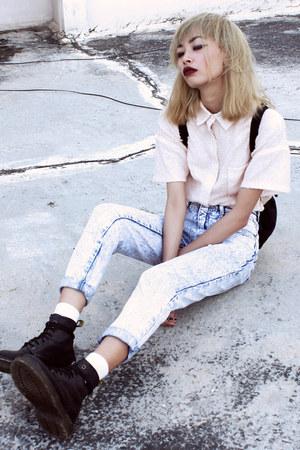 black Dr Martens boots - light pink Front Row Shop shirt