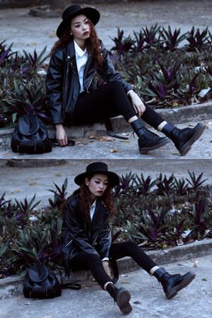 black Dr Martens boots - black Zara jeans - black Thrift Store jacket