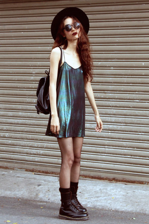 black Dr Martens boots - forest green Motel Rocks dress