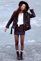 black Dr Martens boots - black Thrift Store jacket - white wholesale7net shirt