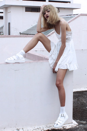 white Sheinside dress - white blackfive sandals