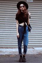 black TUK flats - navy blackfive jeans - dark brown Lovelywholesale sunglasses