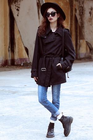 gray kpopsicle coat - black Dr Martens boots - sky blue Cheap Monday jeans