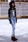 Black-missguided-boots-sky-blue-young-hungry-free-jeans