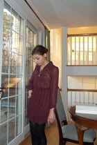 brick red Urban Outfitters dress - black Ugg boots - silver necklace