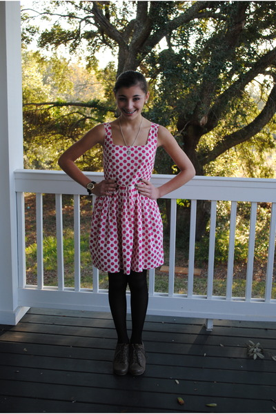 Hot Pink Delias Dresses Light Brown Boots Black Tights Polka