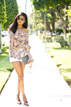 floral print Lush blouse - white denim Zara shorts