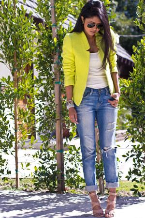 tweed neon Zara blazer - boyfriend jeans Urban Outfitters jeans