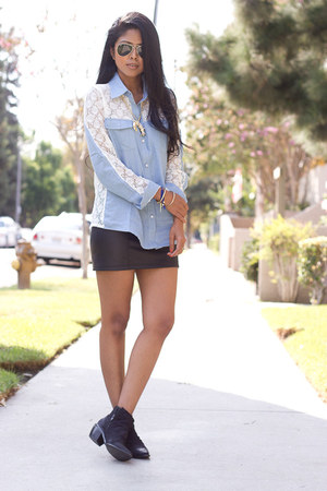 lace and denim Sheinside shirt - leather Aldo boots