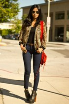 dark brown leopard print unknown jacket - black litas Jeffrey Campbell boots