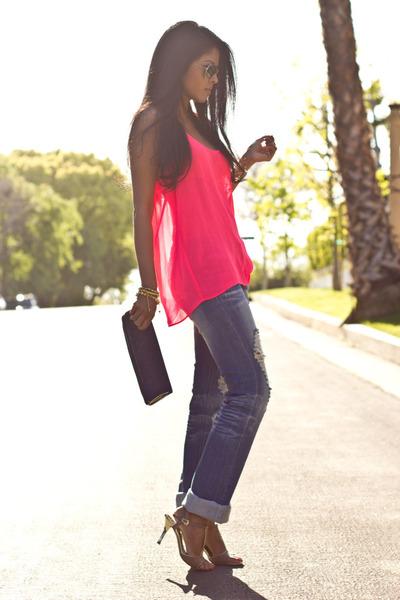 navy laurenmerkin bag - destroyed Machine jeans - hot pink chiffon neon Zara top