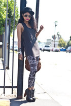 black litas Jeffrey Campbell boots - gray leggings see you monday leggings